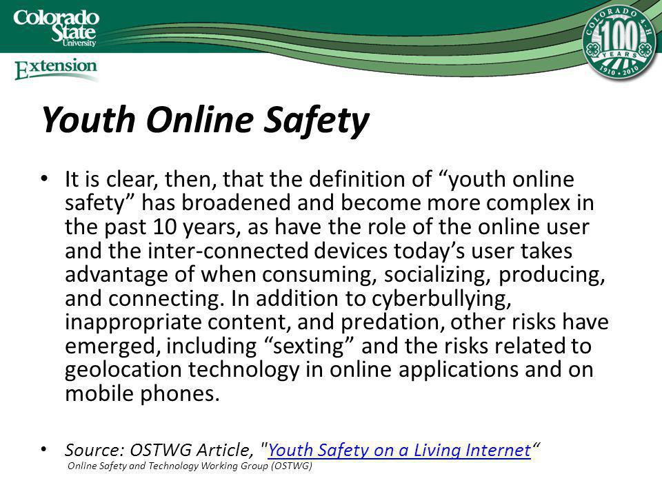 Youth Online Safety It is clear, then, that the definition of youth online safety has broadened and become more complex in the past 10 years, as have