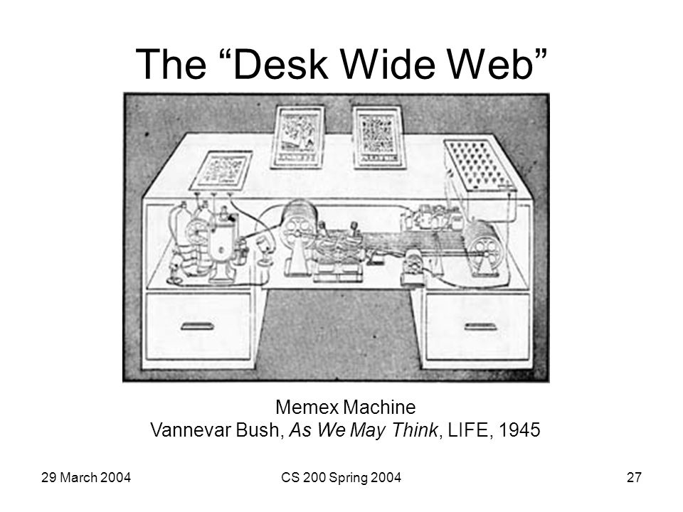 29 March 2004CS 200 Spring 200427 The Desk Wide Web Memex Machine Vannevar Bush, As We May Think, LIFE, 1945