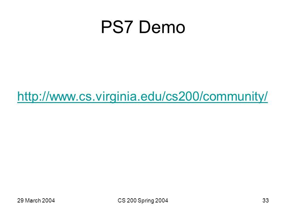 29 March 2004CS 200 Spring 200433 PS7 Demo http://www.cs.virginia.edu/cs200/community/