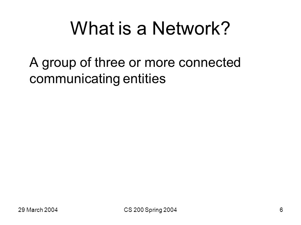 29 March 2004CS 200 Spring 20046 What is a Network.