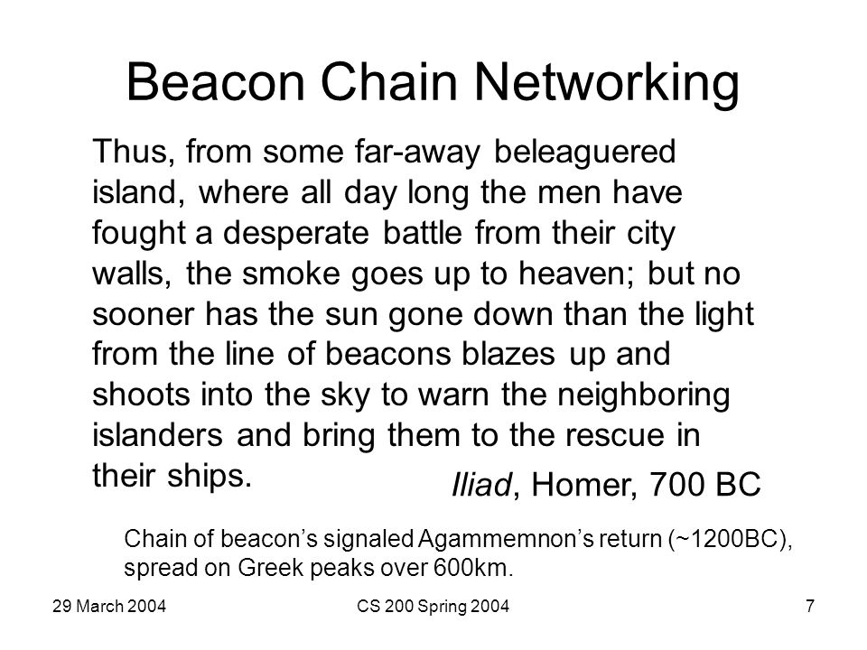 29 March 2004CS 200 Spring 20047 Beacon Chain Networking Thus, from some far-away beleaguered island, where all day long the men have fought a desperate battle from their city walls, the smoke goes up to heaven; but no sooner has the sun gone down than the light from the line of beacons blazes up and shoots into the sky to warn the neighboring islanders and bring them to the rescue in their ships.