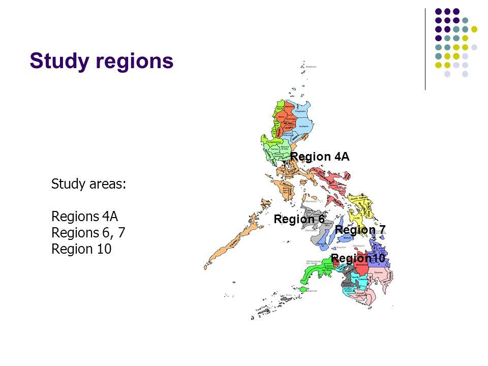 Study regions Region 6 Region 7 Study areas: Regions 4A Regions 6, 7 Region 10 Region 4A Region10
