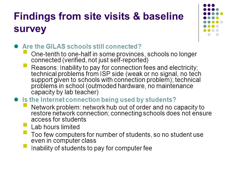 Findings from site visits & baseline survey Are the GILAS schools still connected? One-tenth to one-half in some provinces, schools no longer connecte