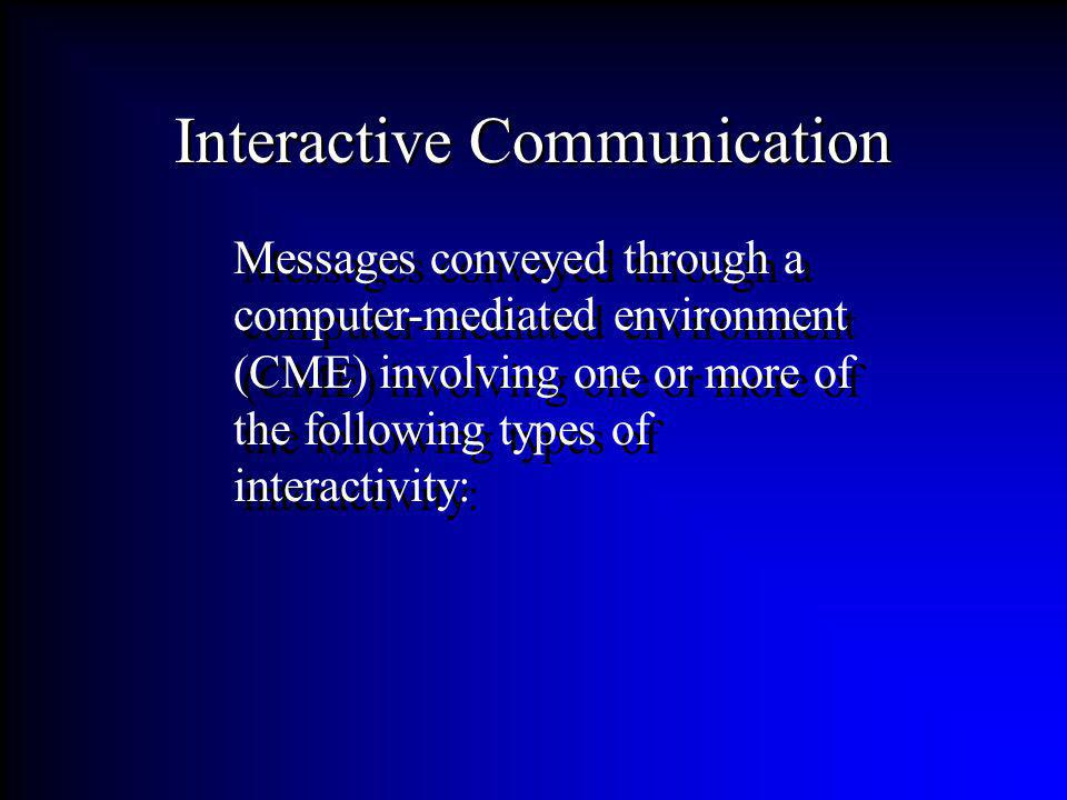 Messages conveyed through a computer-mediated environment (CME) involving one or more of the following types of interactivity: