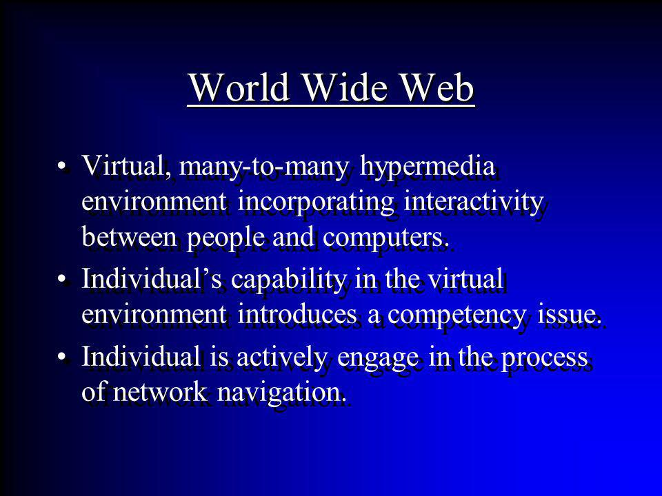 World Wide Web Virtual, many-to-many hypermedia environment incorporating interactivity between people and computers. Individuals capability in the vi