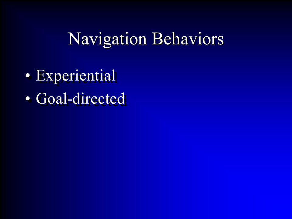 Navigation Behaviors Experiential Goal-directed Experiential Goal-directed