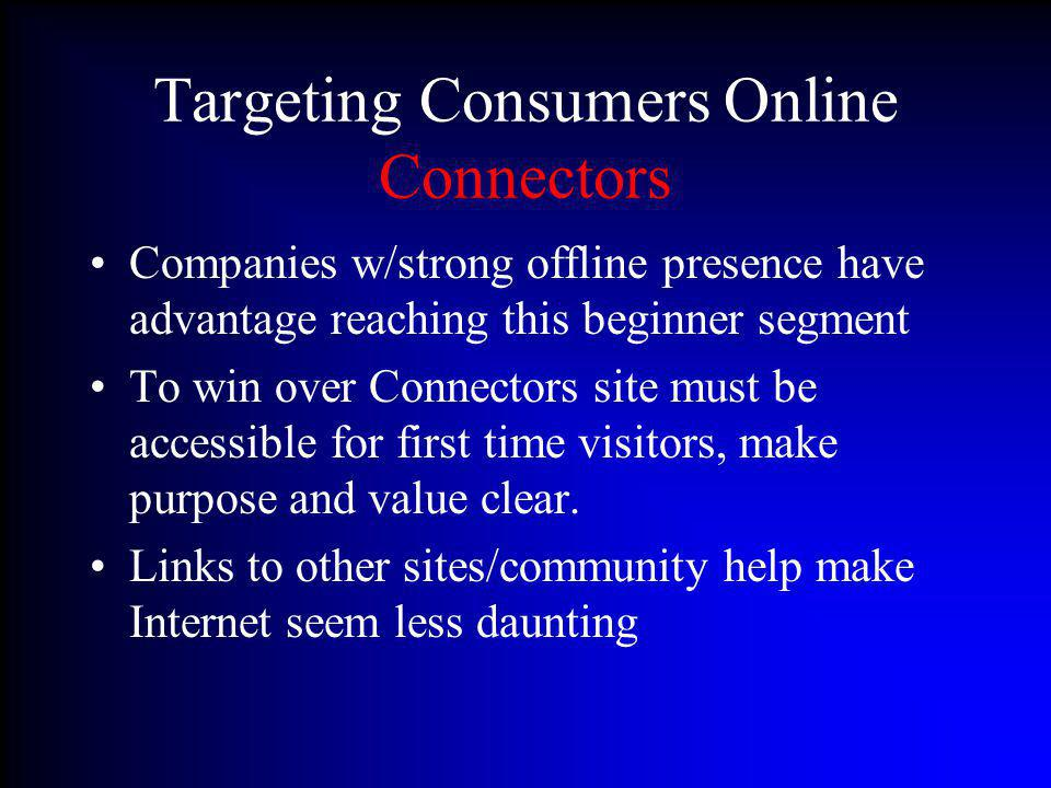 Targeting Consumers Online Connectors Companies w/strong offline presence have advantage reaching this beginner segment To win over Connectors site mu