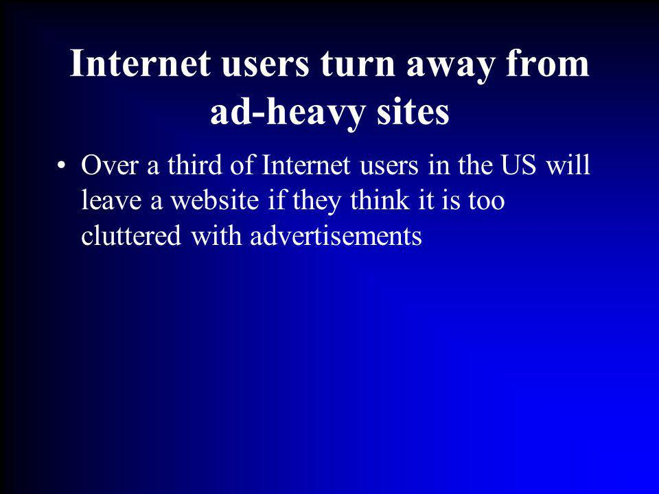 Internet users turn away from ad-heavy sites Over a third of Internet users in the US will leave a website if they think it is too cluttered with adve