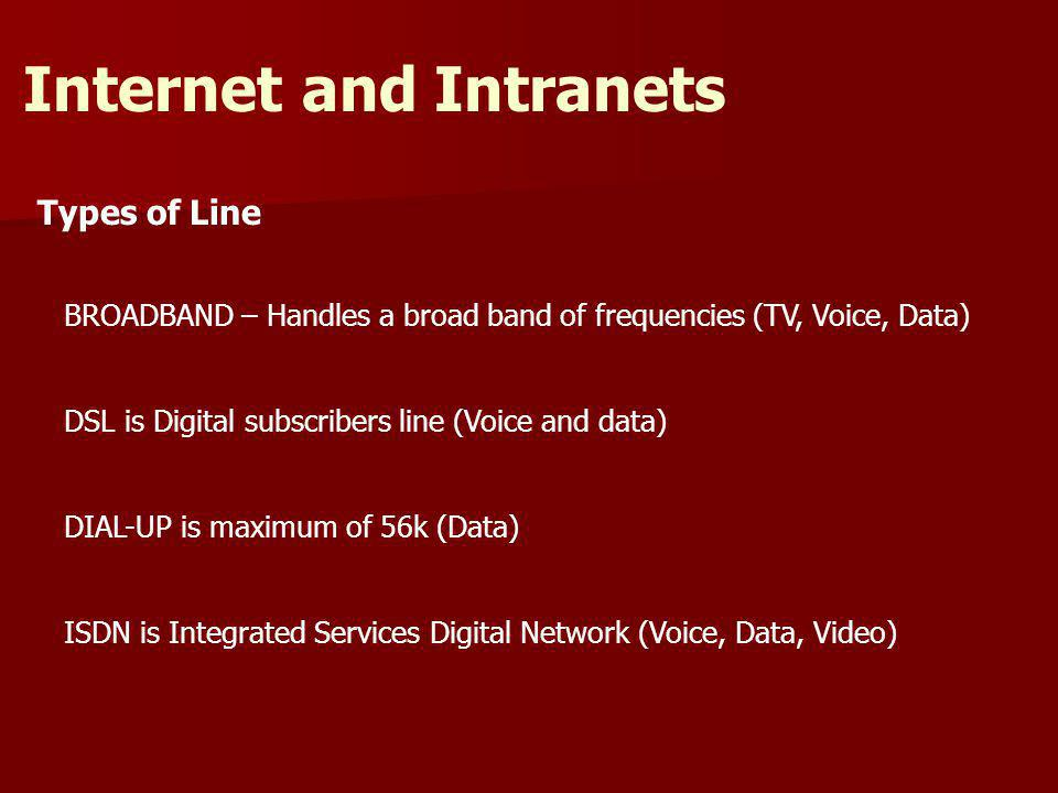 Types of Line Internet and Intranets BROADBAND – Handles a broad band of frequencies (TV, Voice, Data) DSL is Digital subscribers line (Voice and data) DIAL-UP is maximum of 56k (Data) ISDN is Integrated Services Digital Network (Voice, Data, Video)