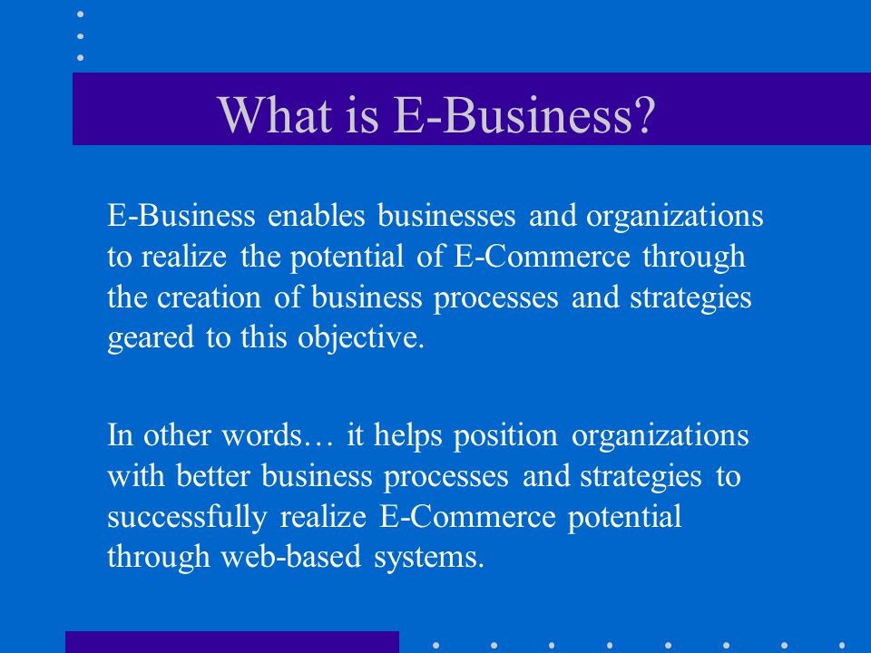 What is E-Commerce.