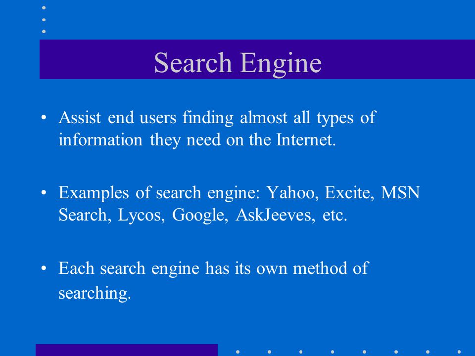 Search Engine Definition The software used on a server or a collection of servers dedicated to indexing Internet web pages, storing the results and returning lists of pages which match particular queries.