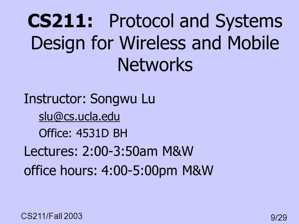 CS211/Fall 2003 9/29 IP Packet Header Format vers.