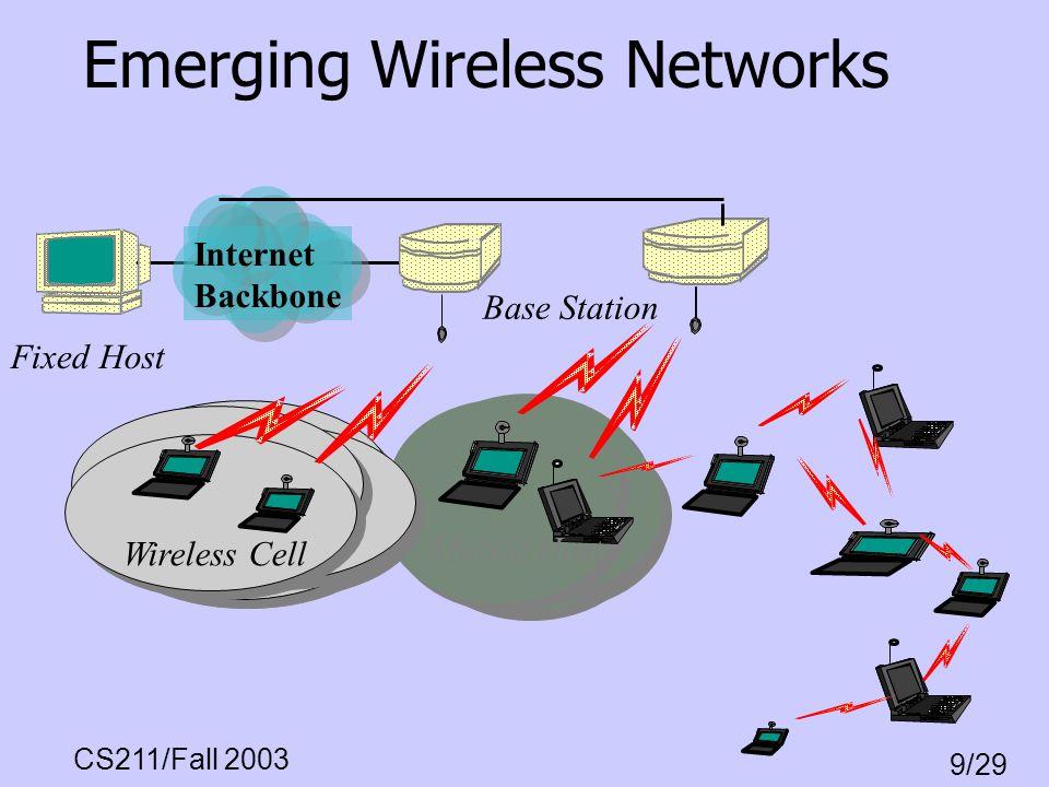 CS211/Fall 2003 9/29 Emerging Wireless Networks Base Station Fixed Host Wireless Cell Internet Backbone Mobile Host