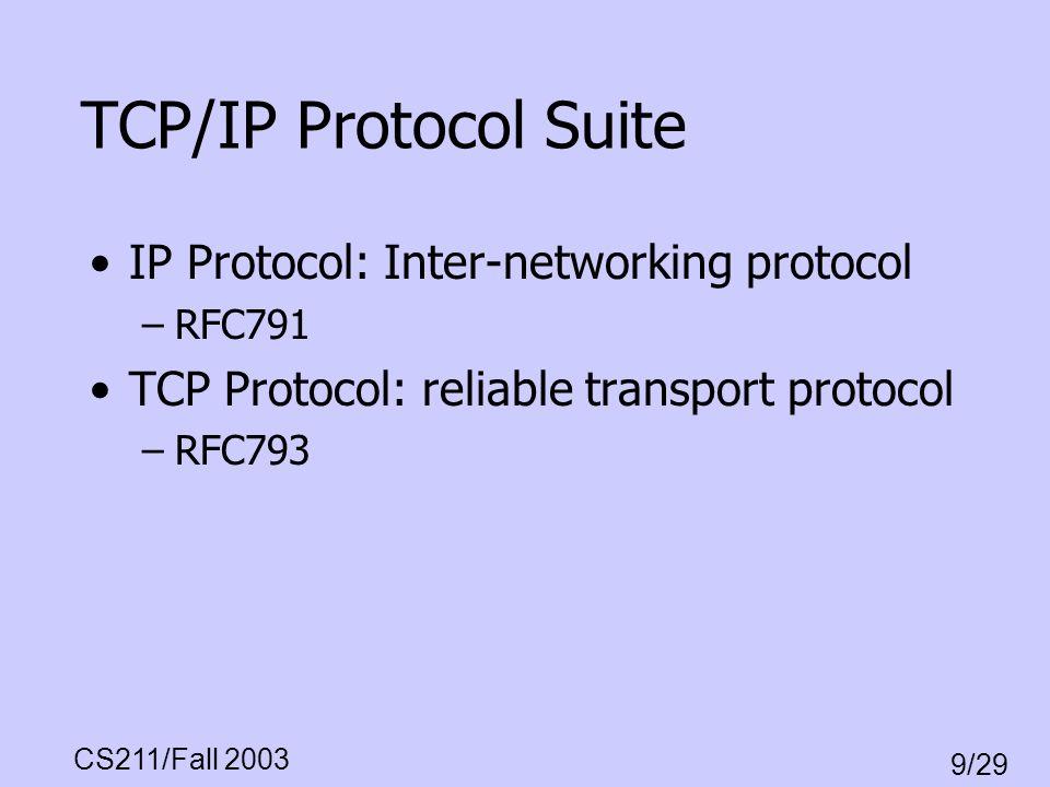CS211/Fall 2003 9/29 TCP/IP Protocol Suite IP Protocol: Inter-networking protocol –RFC791 TCP Protocol: reliable transport protocol –RFC793