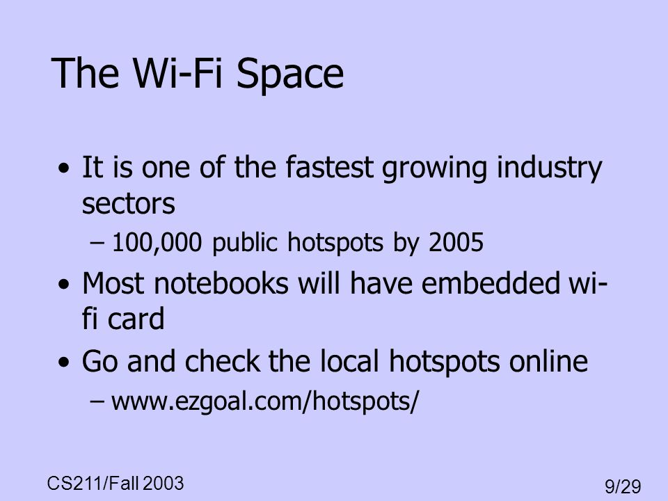 CS211/Fall 2003 9/29 The Wi-Fi Space It is one of the fastest growing industry sectors –100,000 public hotspots by 2005 Most notebooks will have embed
