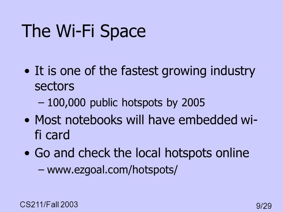 CS211/Fall 2003 9/29 Protocol Stack Wireless Web, Location Services, etc.