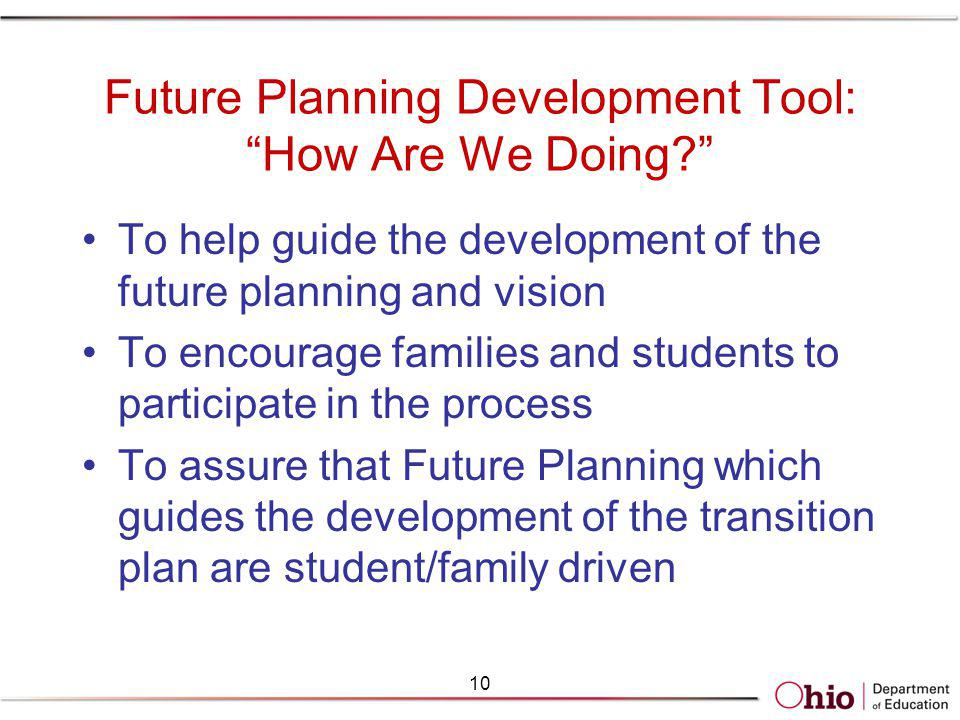 Future Planning Development Tool: How Are We Doing? To help guide the development of the future planning and vision To encourage families and students