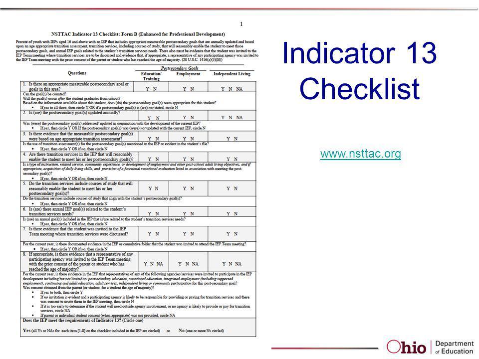 Indicator 13 Checklist www.nsttac.org