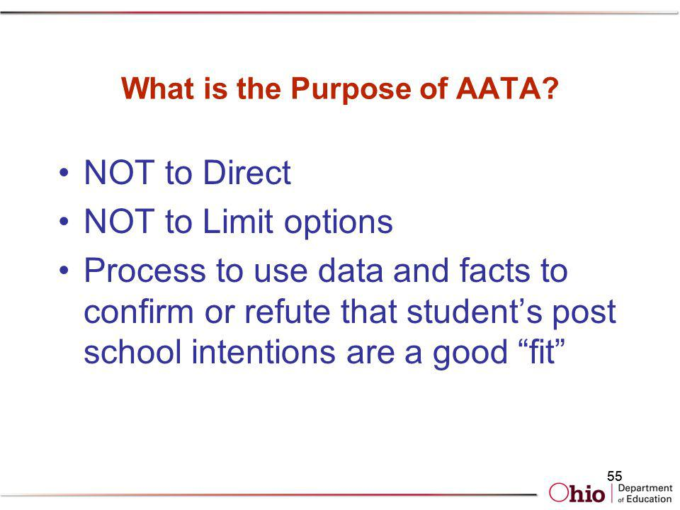 What is the Purpose of AATA? NOT to Direct NOT to Limit options Process to use data and facts to confirm or refute that students post school intention