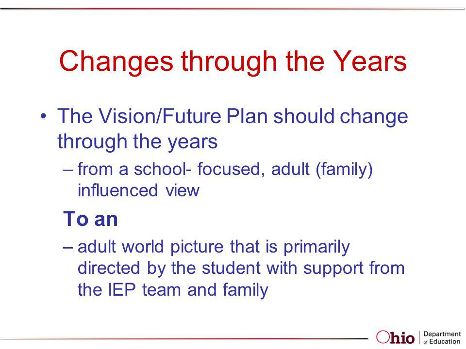Examples of Evidence Students of any age are required to be invited to IEP meetings where transition is discussed –PR-02 addressed to student –Student signature as attendee on IEP If student does not attend: –District required to take other steps to ensure students interests and preferences are considered For example: AATA information that includes students PINS