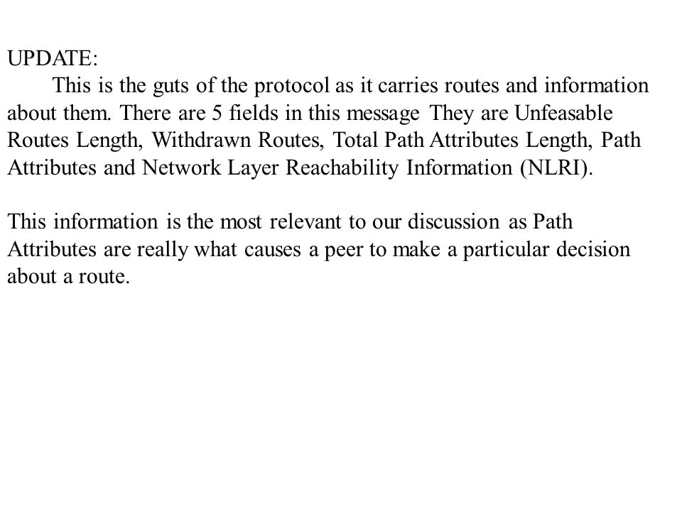 UPDATE: This is the guts of the protocol as it carries routes and information about them.