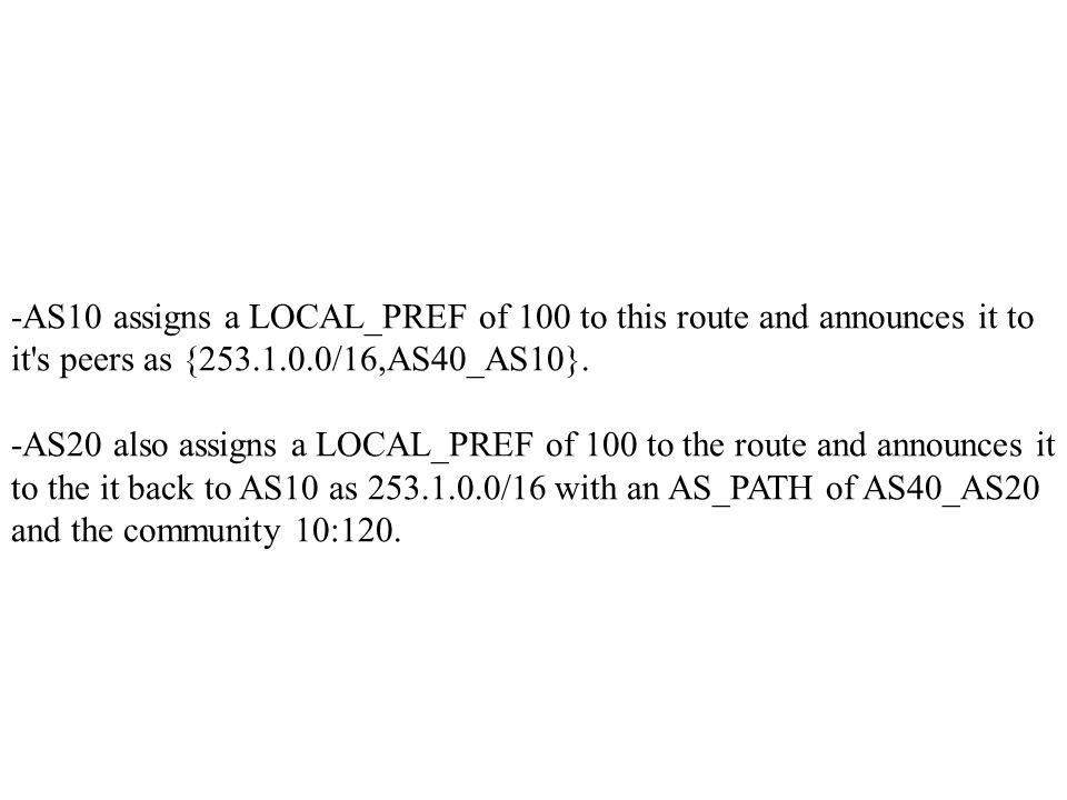 -AS10 assigns a LOCAL_PREF of 100 to this route and announces it to it s peers as {253.1.0.0/16,AS40_AS10}.