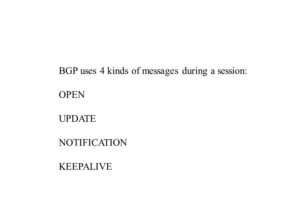 BGP uses 4 kinds of messages during a session: OPEN UPDATE NOTIFICATION KEEPALIVE