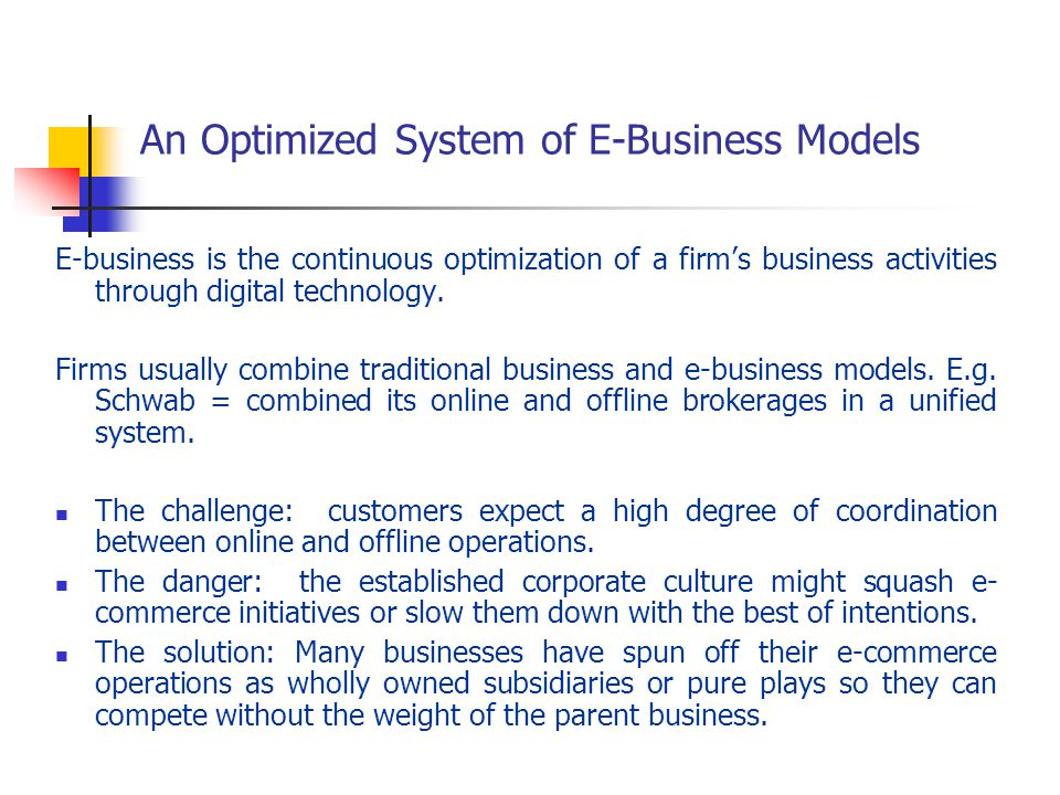 An Optimized System of E-Business Models E-business is the continuous optimization of a firms business activities through digital technology. Firms us