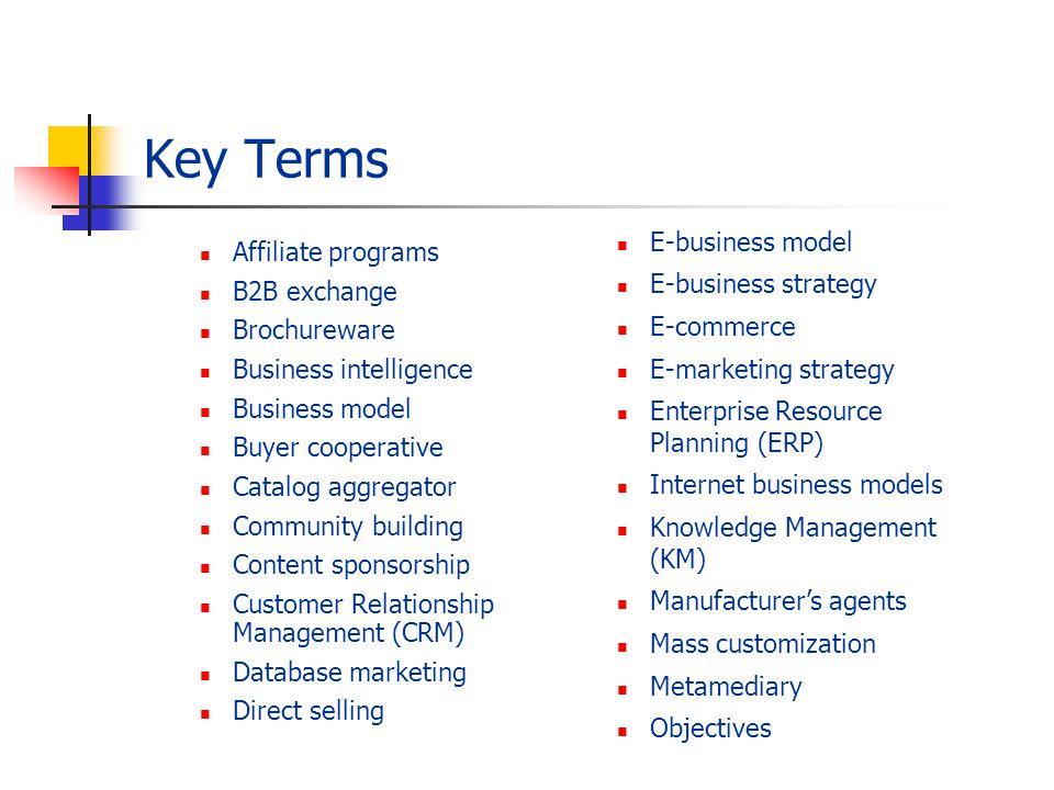 Key Terms Affiliate programs B2B exchange Brochureware Business intelligence Business model Buyer cooperative Catalog aggregator Community building Co