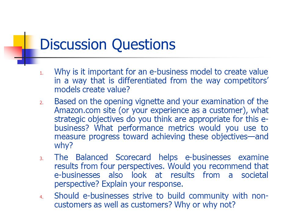 Discussion Questions 1. Why is it important for an e-business model to create value in a way that is differentiated from the way competitors models cr