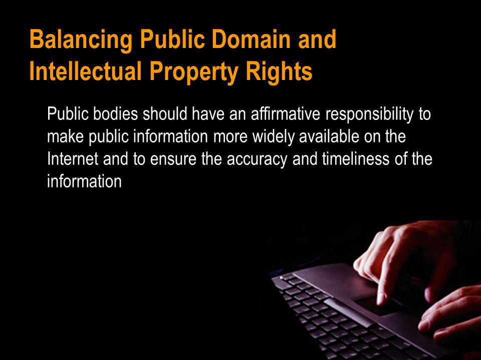 Balancing Public Domain and Intellectual Property Rights Public bodies should have an affirmative responsibility to make public information more widely available on the Internet and to ensure the accuracy and timeliness of the information