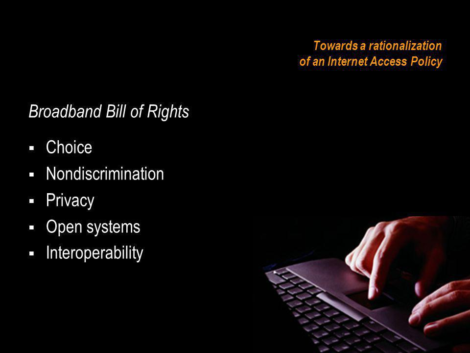Towards a rationalization of an Internet Access Policy Broadband Bill of Rights Public interest Obligations Civic content Educational opportunities Childrens programming Digital Divide