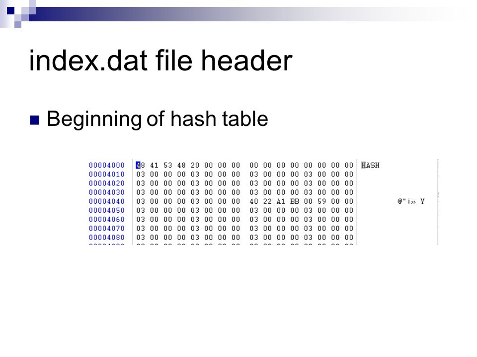 index.dat file header REDR Activity Record Subjects browser redirected to another site Same Type, length, data format Followed by URL at offset 16 in activity record