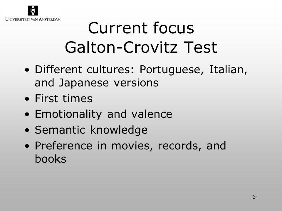 24 Current focus Galton-Crovitz Test Different cultures: Portuguese, Italian, and Japanese versions First times Emotionality and valence Semantic knowledge Preference in movies, records, and books