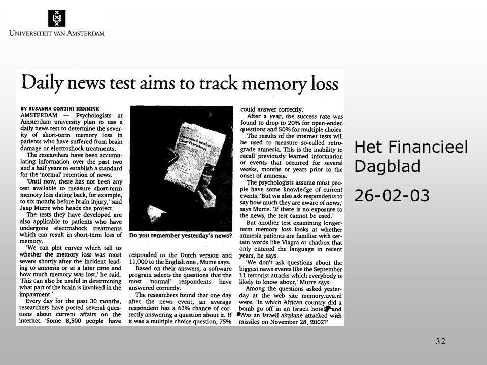 32 Het Financieel Dagblad 26-02-03