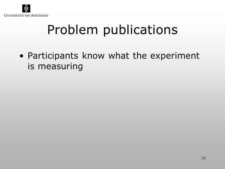 36 Problem publications Participants know what the experiment is measuring