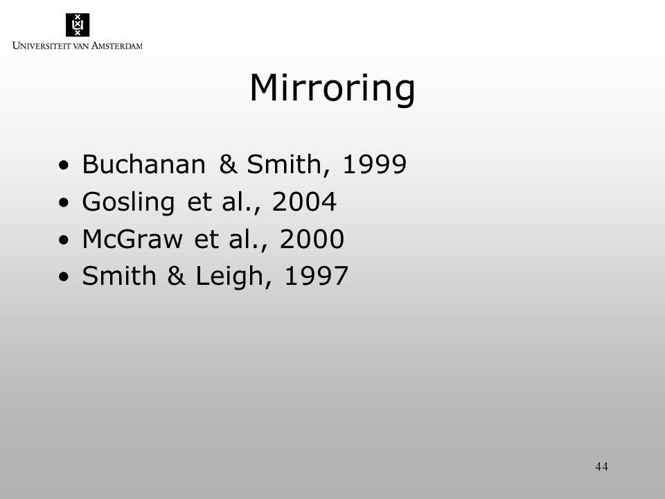44 Mirroring Buchanan & Smith, 1999 Gosling et al., 2004 McGraw et al., 2000 Smith & Leigh, 1997