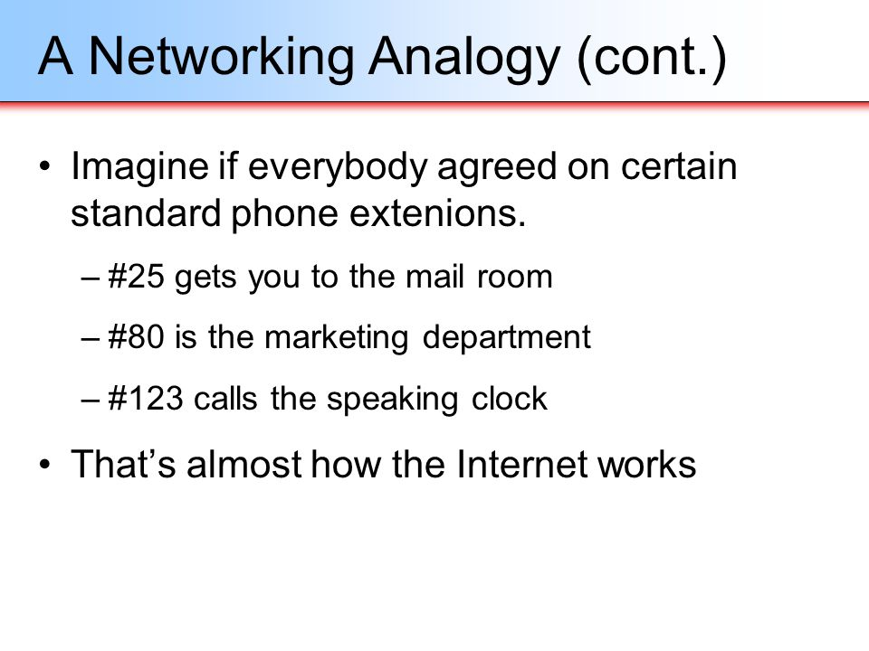 A Networking Analogy (cont.) Imagine if everybody agreed on certain standard phone extenions. –#25 gets you to the mail room –#80 is the marketing dep