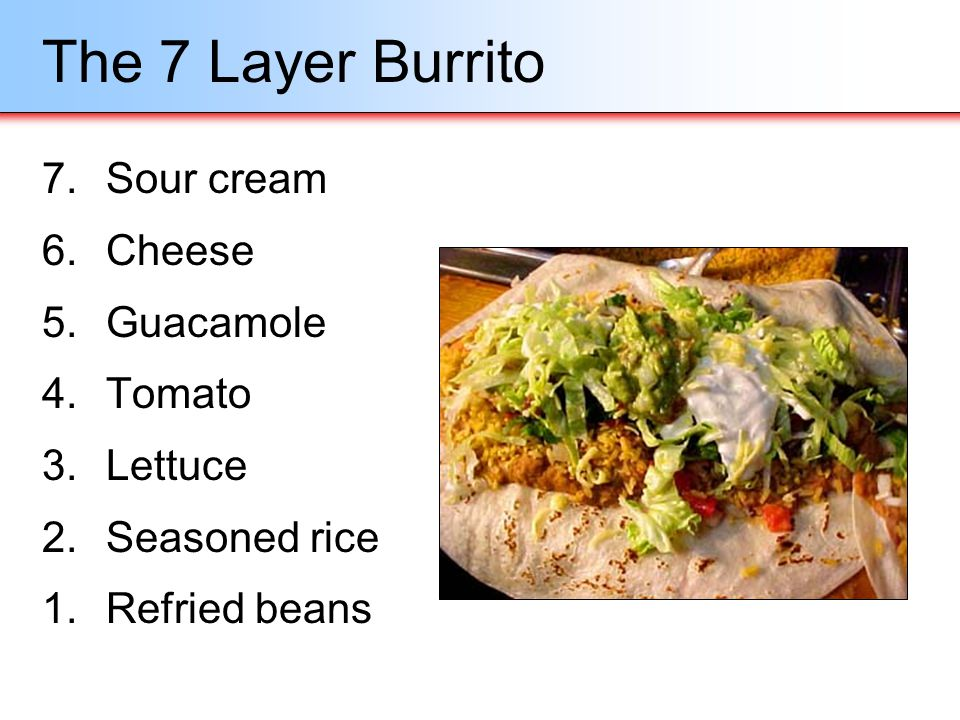 The 7 Layer Burrito 7.Sour cream 6.Cheese 5.Guacamole 4.Tomato 3.Lettuce 2.Seasoned rice 1.Refried beans