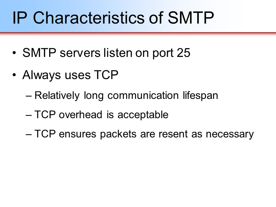 IP Characteristics of SMTP SMTP servers listen on port 25 Always uses TCP –Relatively long communication lifespan –TCP overhead is acceptable –TCP ens