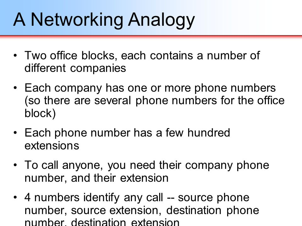 Routing (cont.) Hosts on two different networks cant talk directly, they need a router to route the packets between them A router is a device with at least 2 network interfaces present on 2 or more different networks Hosts send packets for other networks to the router Router looks at the destination address information in the packet, and works out where to send it