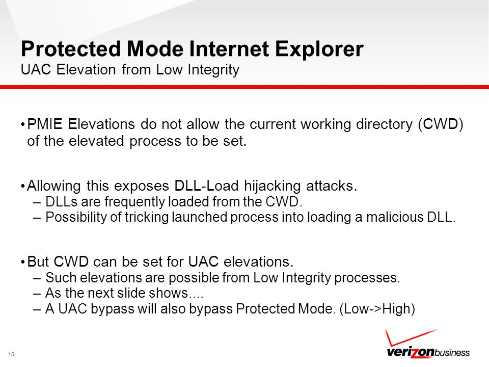 Protected Mode Internet Explorer UAC Elevation from Low Integrity 15 PMIE Elevations do not allow the current working directory (CWD) of the elevated