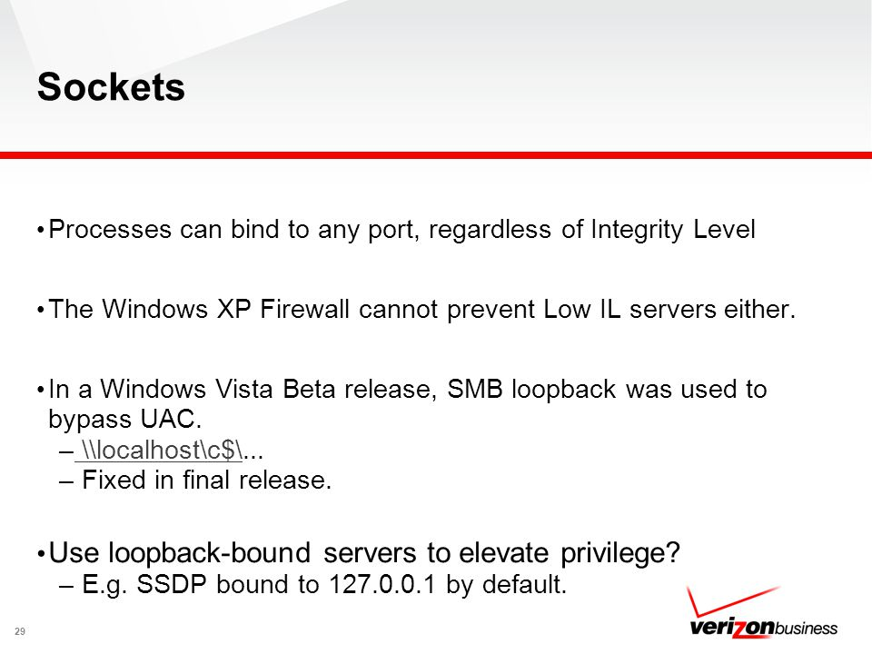 Sockets Processes can bind to any port, regardless of Integrity Level The Windows XP Firewall cannot prevent Low IL servers either. In a Windows Vista