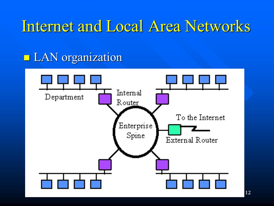 Internet Programming12 LAN organization LAN organization Internet and Local Area Networks