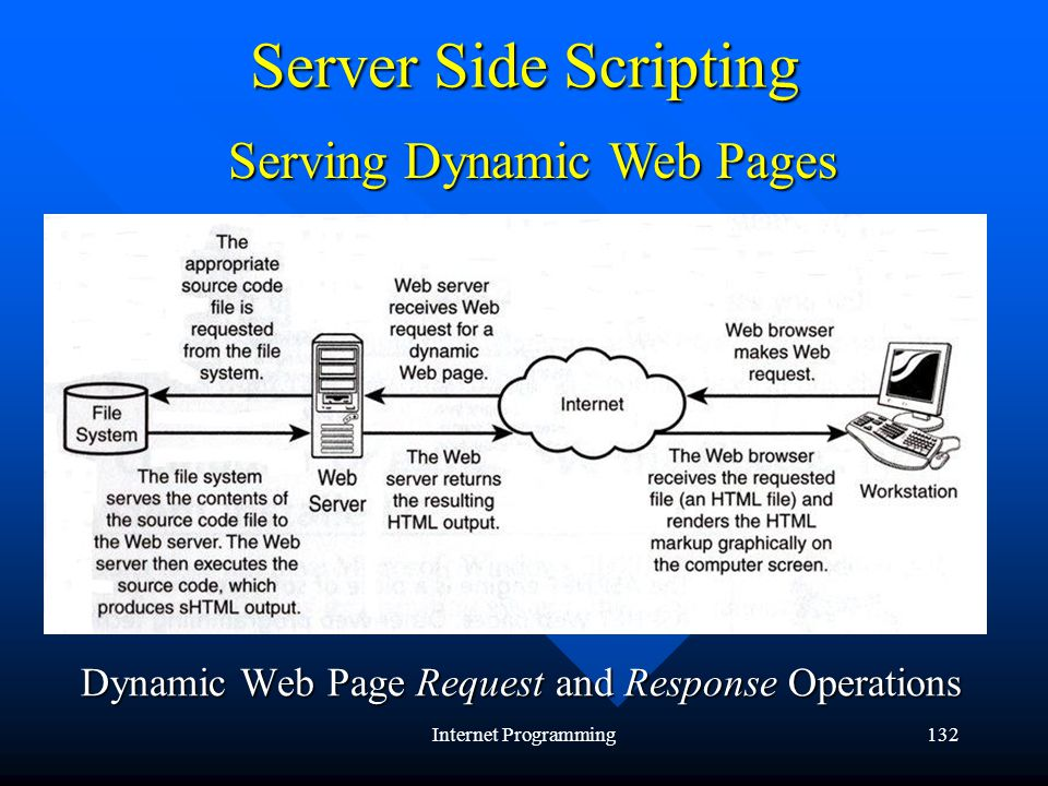 Internet Programming132 Server Side Scripting Serving Dynamic Web Pages Dynamic Web Page Request and Response Operations