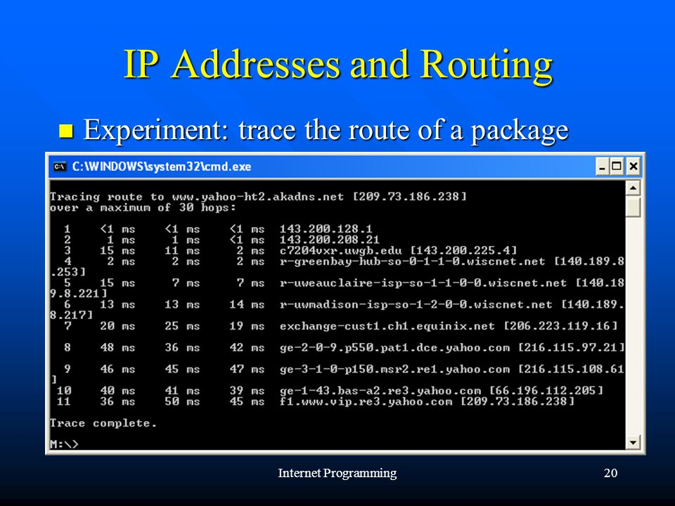 Internet Programming20 IP Addresses and Routing Experiment: trace the route of a package Experiment: trace the route of a package