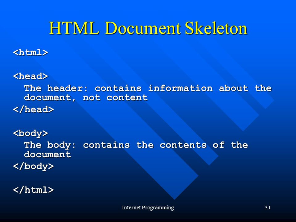Internet Programming31 HTML Document Skeleton <html><head> The header: contains information about the document, not content </head><body> The body: contains the contents of the document </body></html>