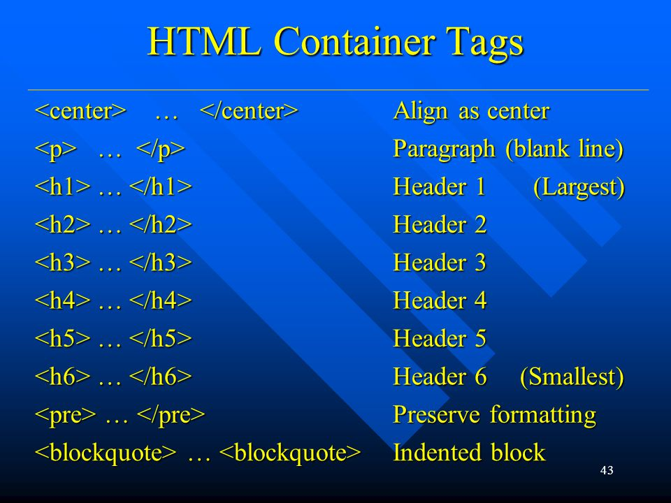 43 HTML Container Tags … … Align as center … … Paragraph (blank line) … … Header 1 (Largest) … … Header 2 … … Header 3 … … Header 4 … … Header 5 … … Header 6 (Smallest) … … Preserve formatting … … Indented block