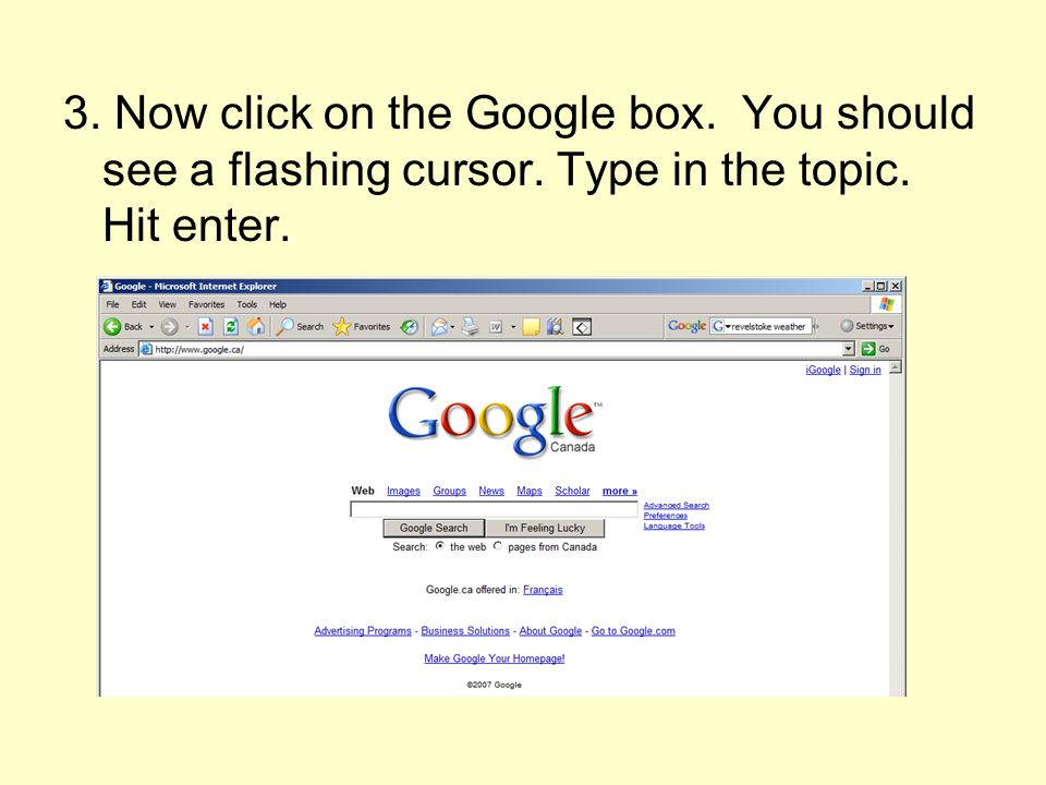 3. Now click on the Google box. You should see a flashing cursor. Type in the topic. Hit enter.