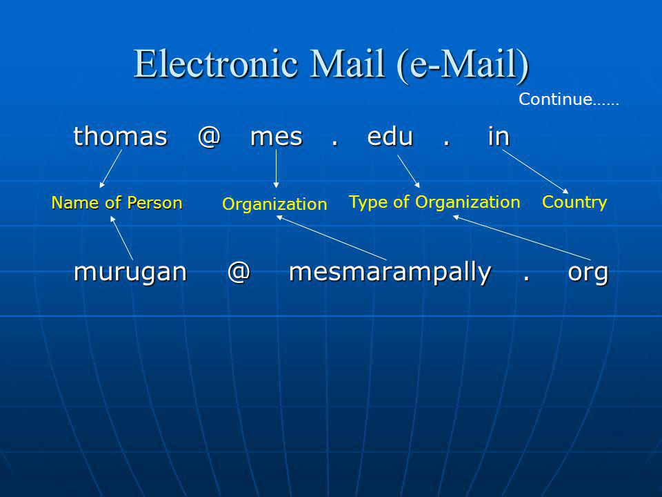 Electronic Mail (e-Mail) thomas @ mes. edu. in murugan @ mesmarampally. org Continue…… Organization Type of Organization Name of Person Country